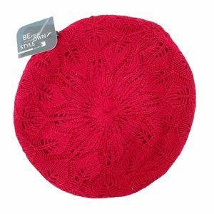 Be Your Own Style red circular crochet beanie hat